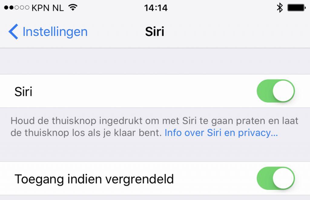 Siri uitzetten iPhone