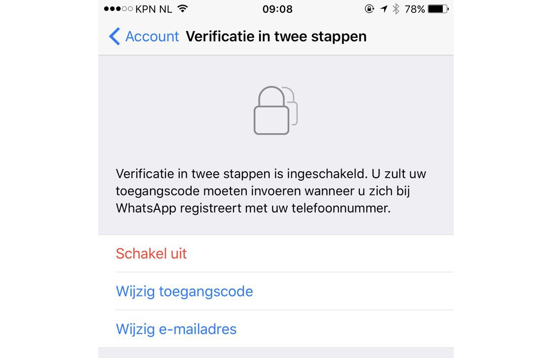 WhatsApp tweestapsverificatie