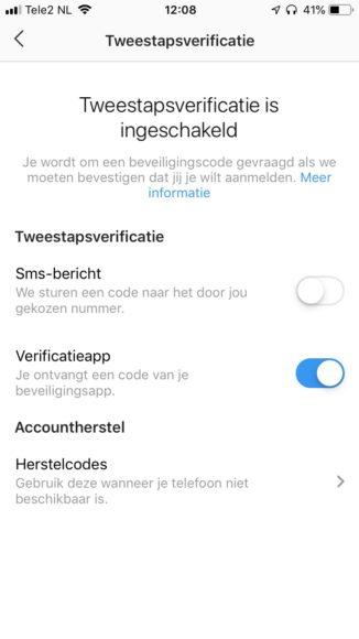 Tweestapsverificatie Instagram
