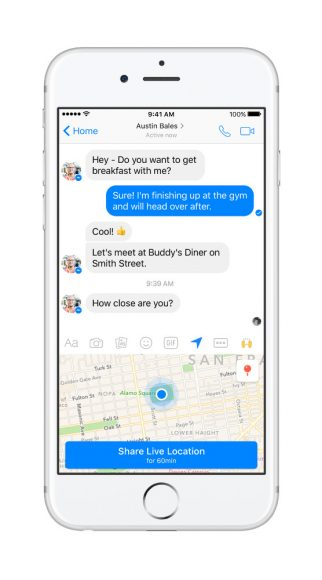 facebook messenger live locatie