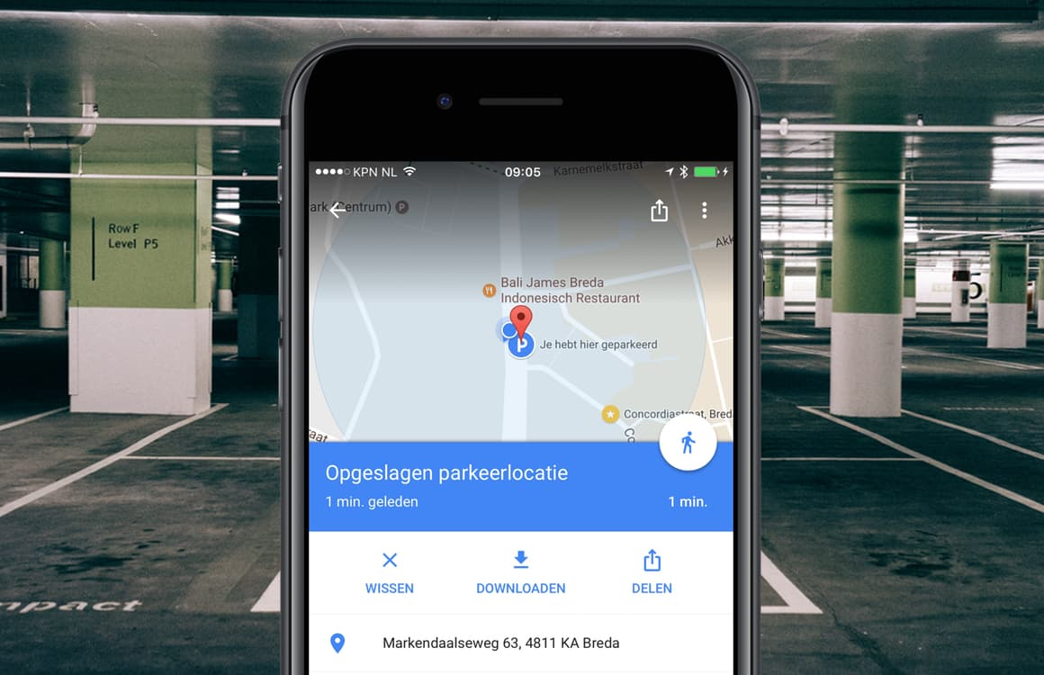 Google Maps parkeerlocatie