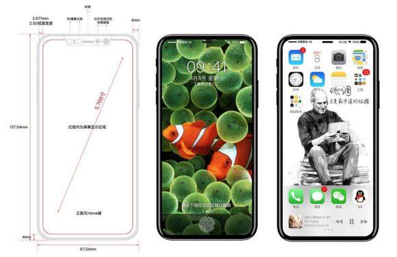 'iPhone 8-tekening toont Touch ID en frontcamera in scherm'