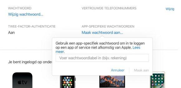 iCloud app-specifiek wachtwoord