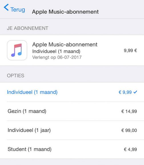 apple music jaarabonnement