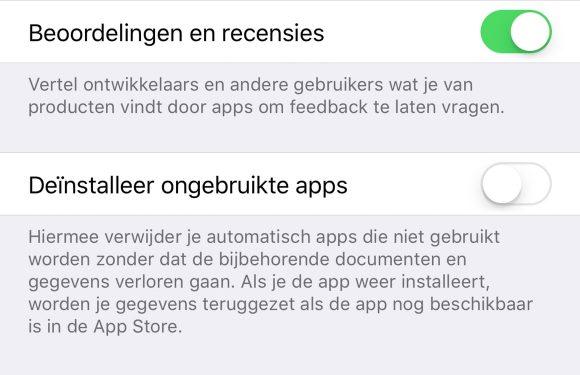 iOS 11 geheugen besparen
