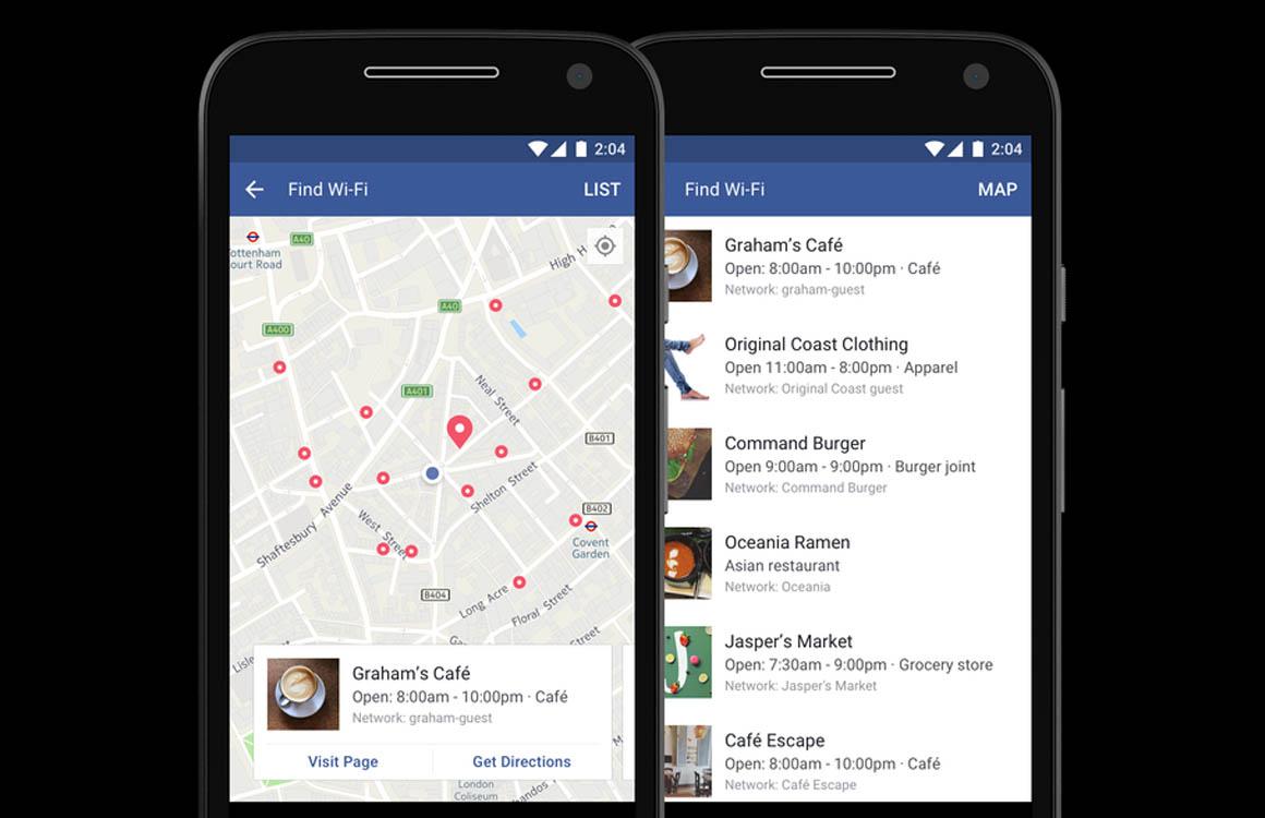 Facebook laat gebruikers gratis wifi-netwerken in de buurt vinden