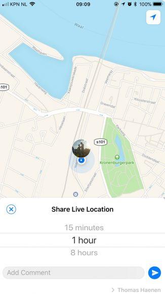 WhatsApp live locatie