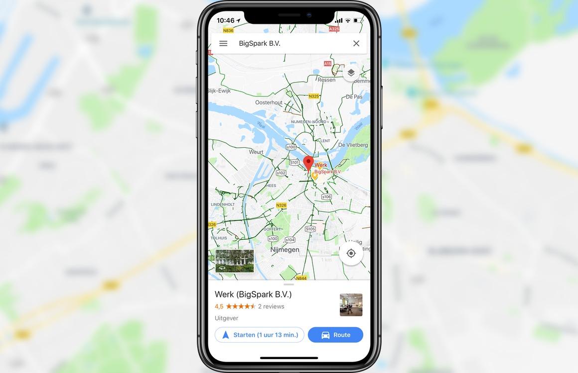 Google Maps gebruikt nu volledig scherm op iPhone X
