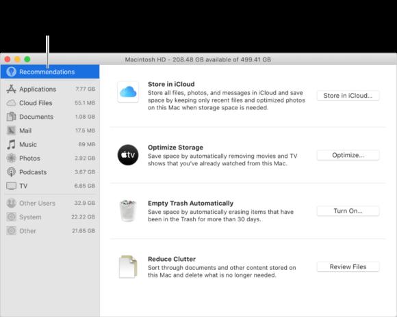 geoptimaliseerde opslag mac