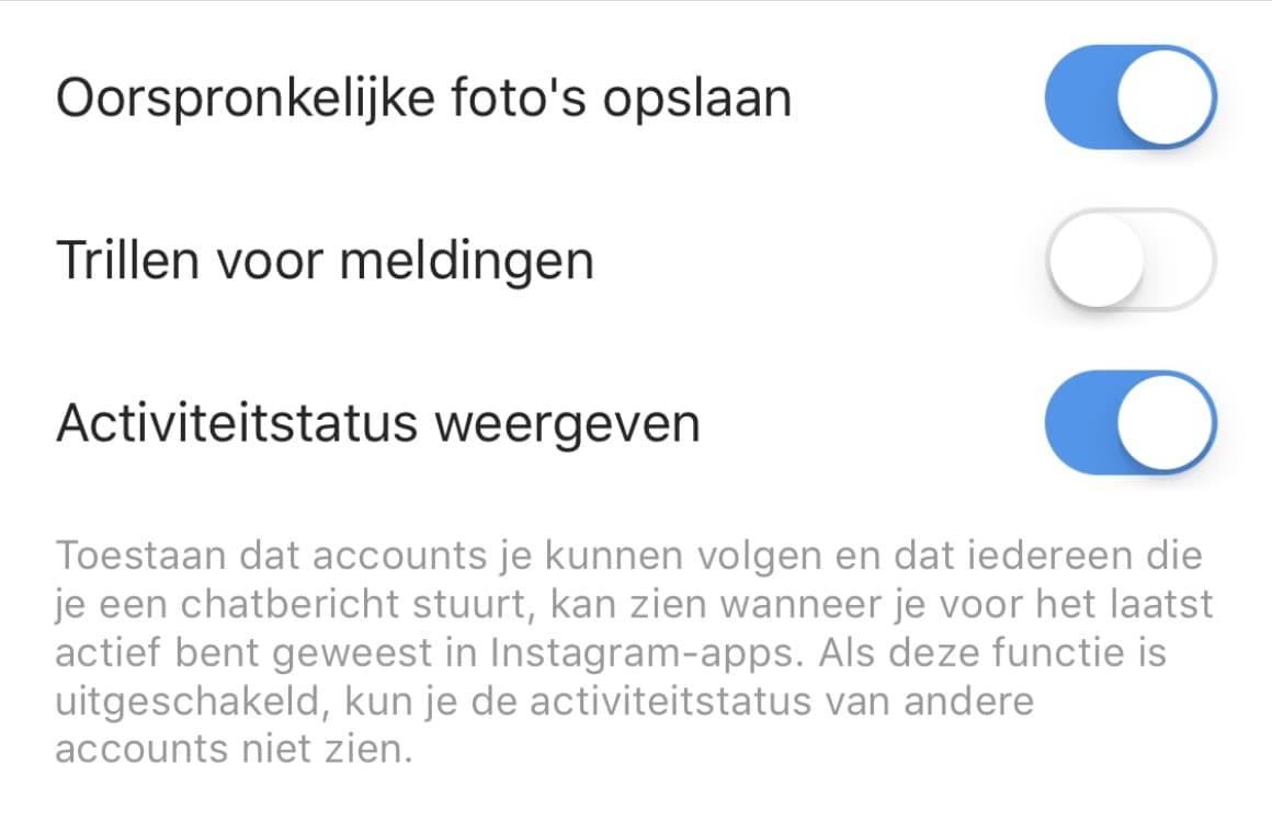 Instagram activiteitsstatus uitschakelen
