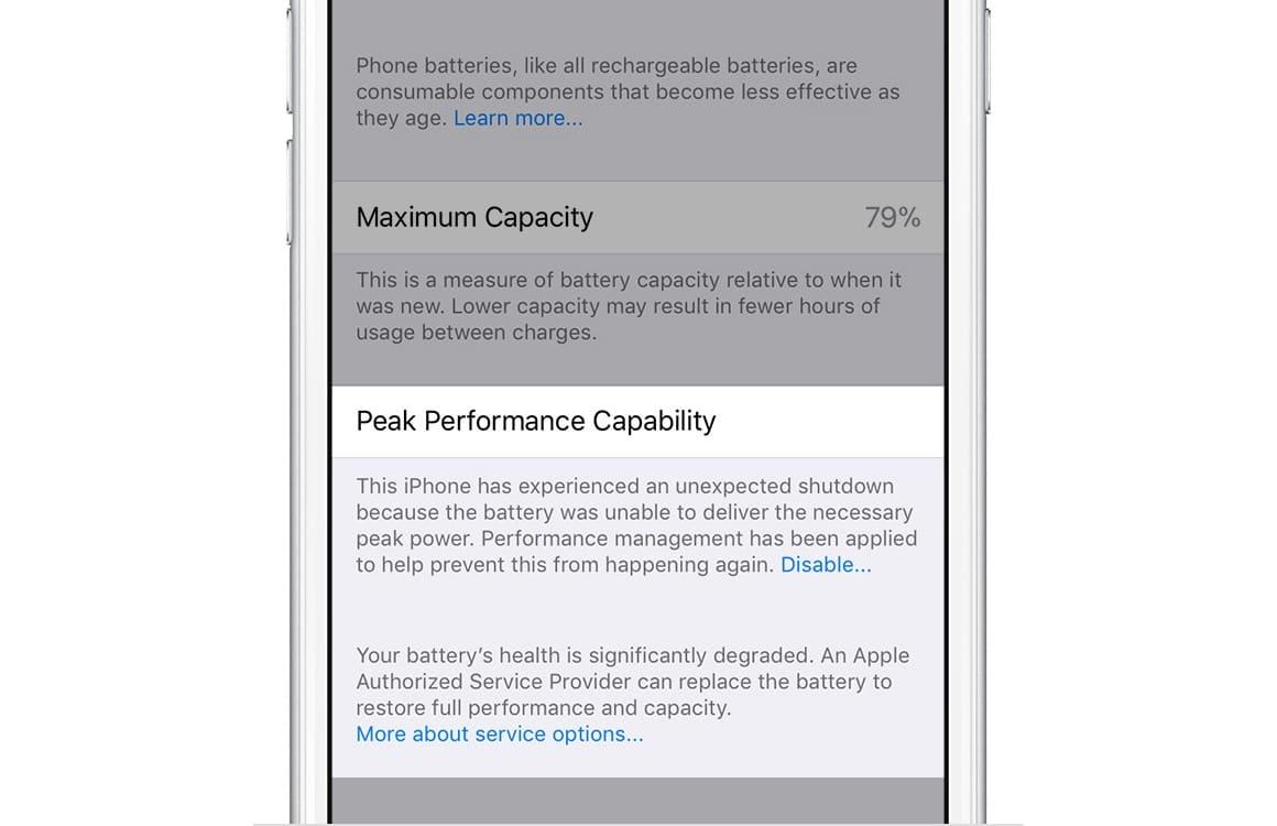 iOS 11.3 energiebeheer