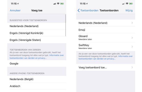 iPhone toetsenbord installeren