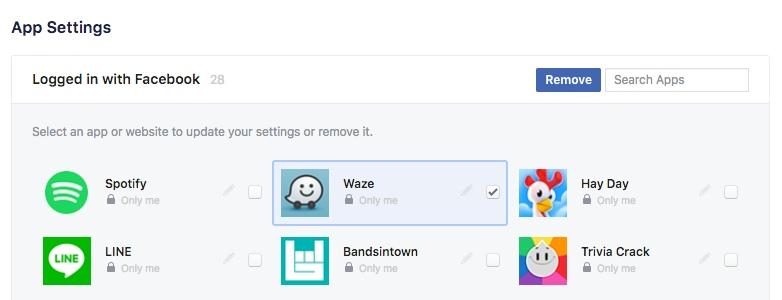Facebook apps verwijderen