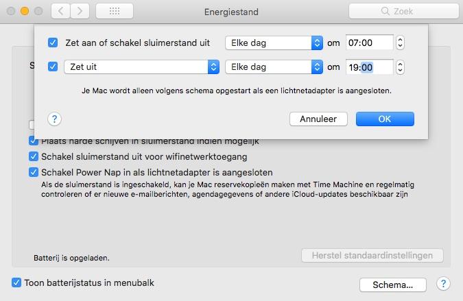mac automatisch uitschakelen