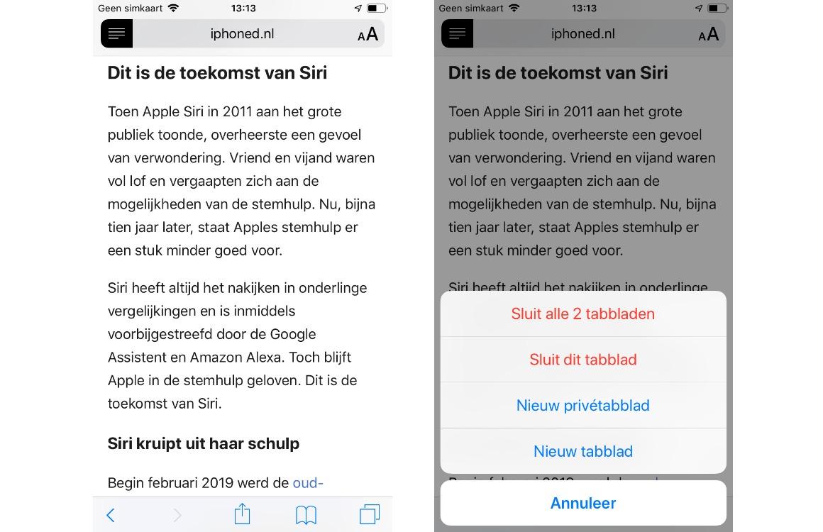 Safari tabbladen sluiten screens