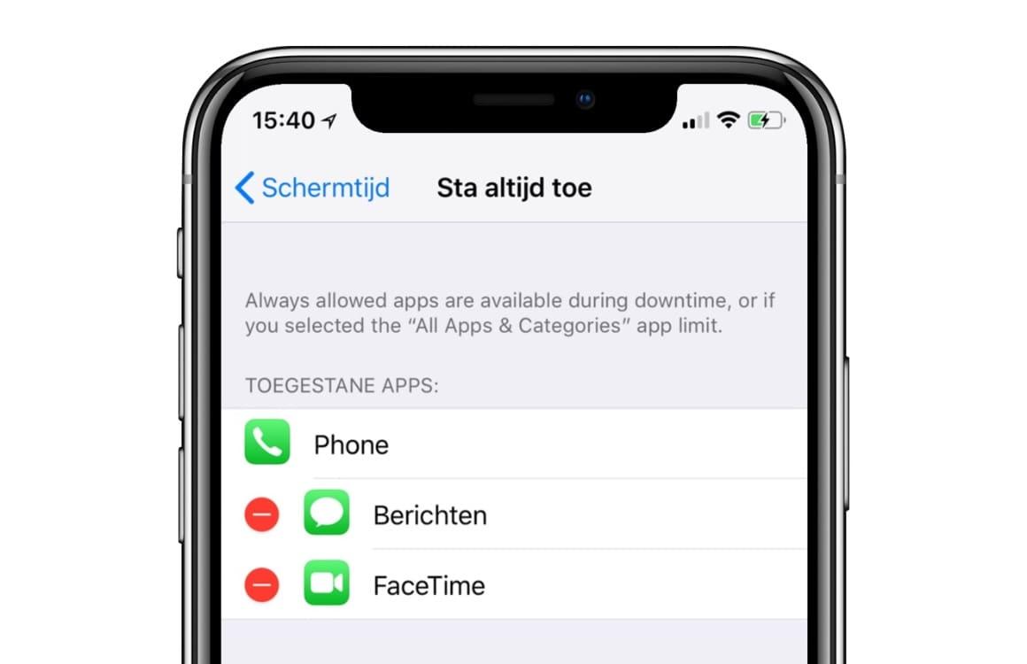 iOS 12 schermtijd