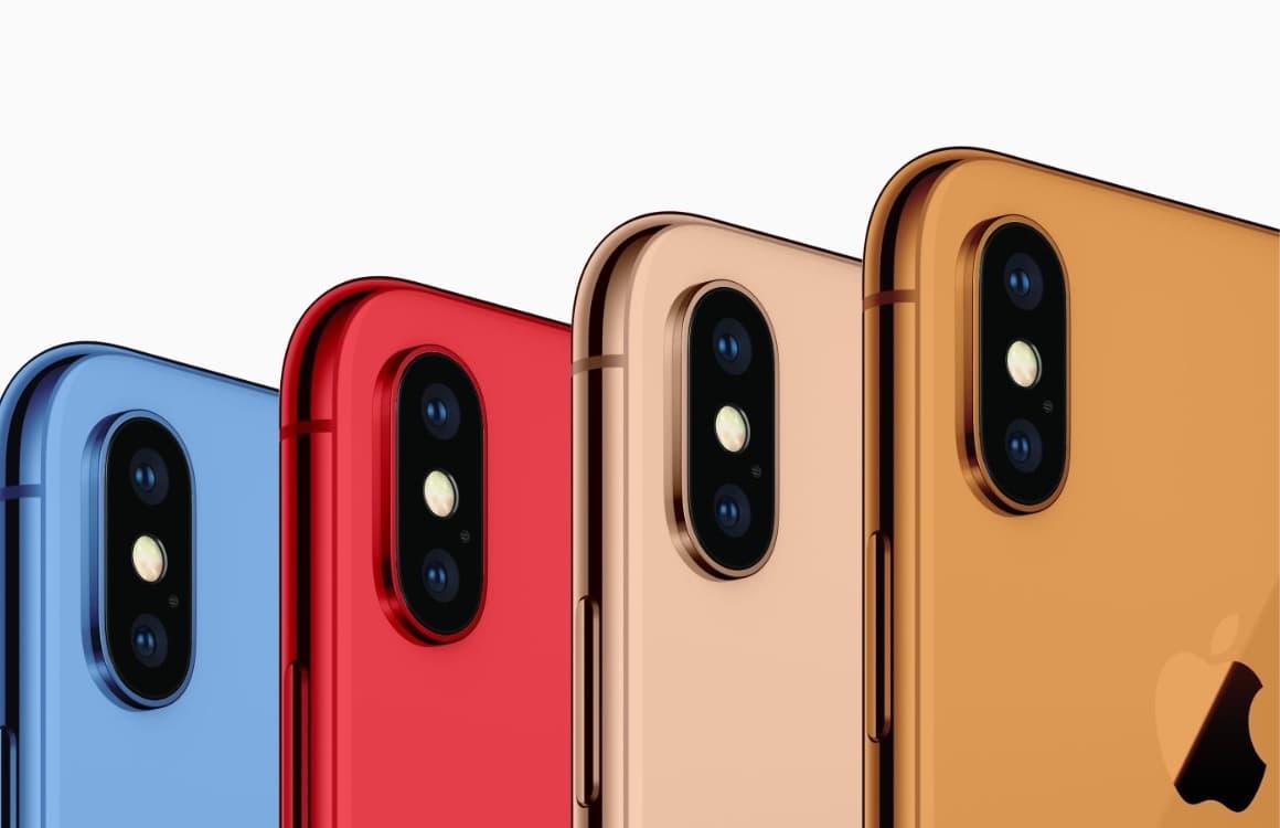 '2018 iPhones verschijnen ook in het rood, blauw, goud en oranje'
