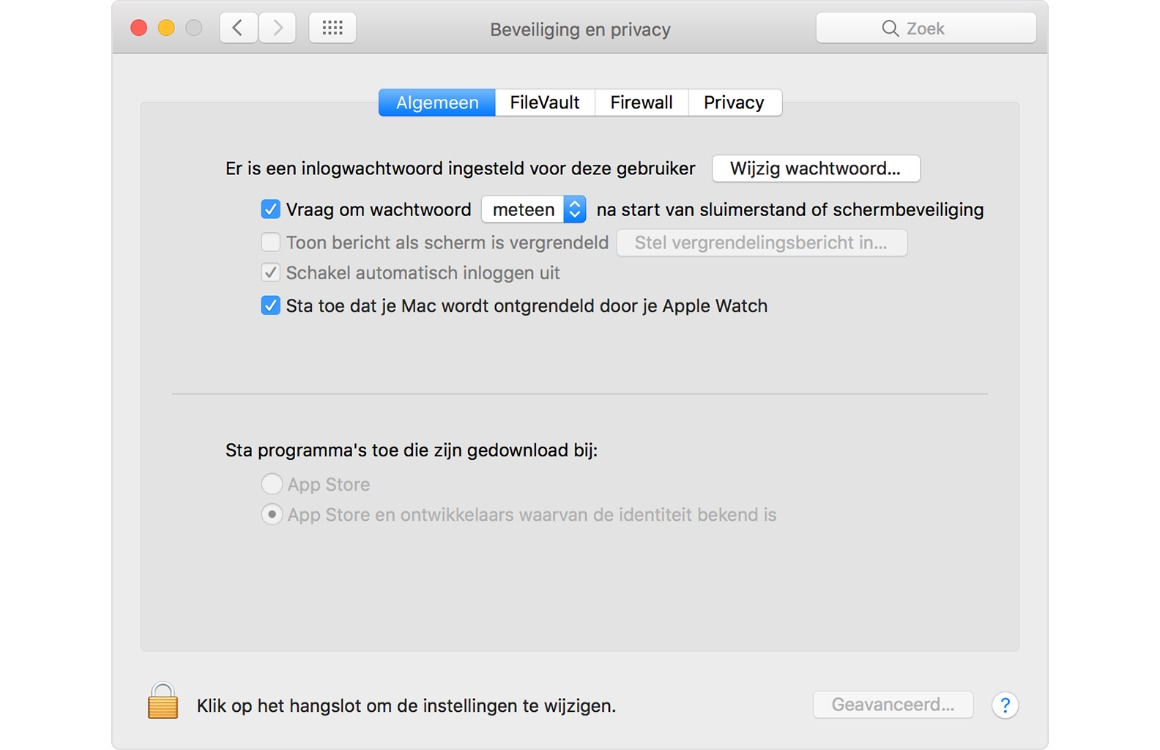 Mac ontgrendelen met Apple Watch