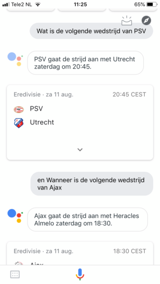 Google Assistent op iOS