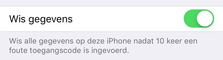 iphone beveiligingsoptie