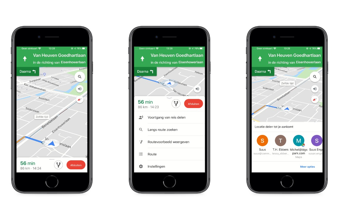 Google Maps voortgang delen screens
