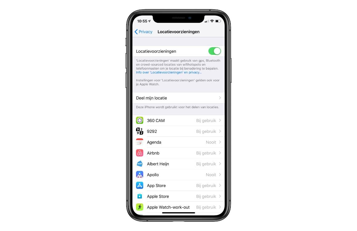 iPhone locatievoorzieningen uitschakelen