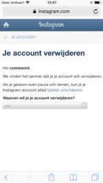 Instagram account verwijderen screen (1)