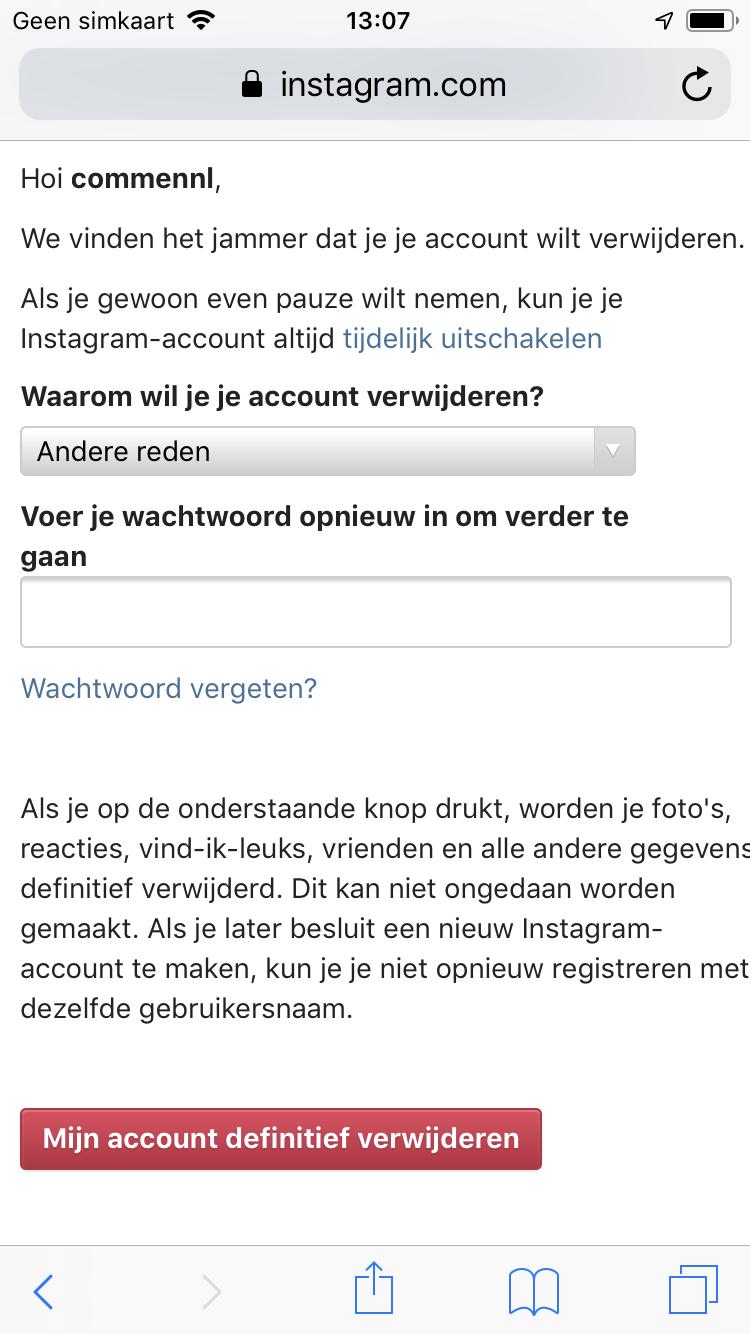 Instagram account verwijderen screen (2)