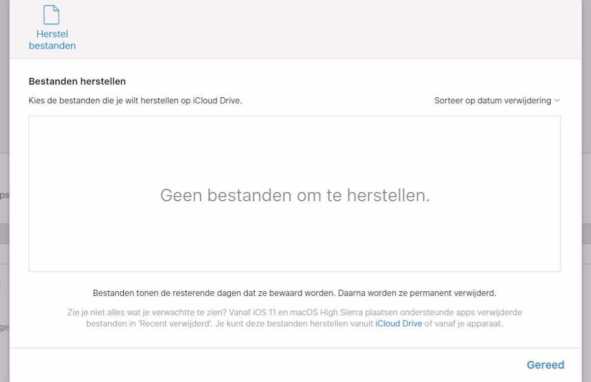 Verwijderde iCloud bestanden herstellen 3
