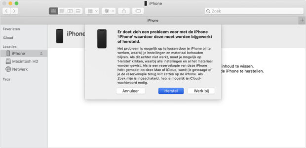iphone geblokkeerd herstellen via itunes