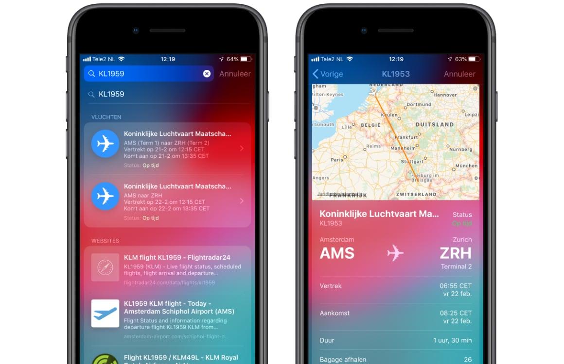 Vluchtstatus checken iPhone