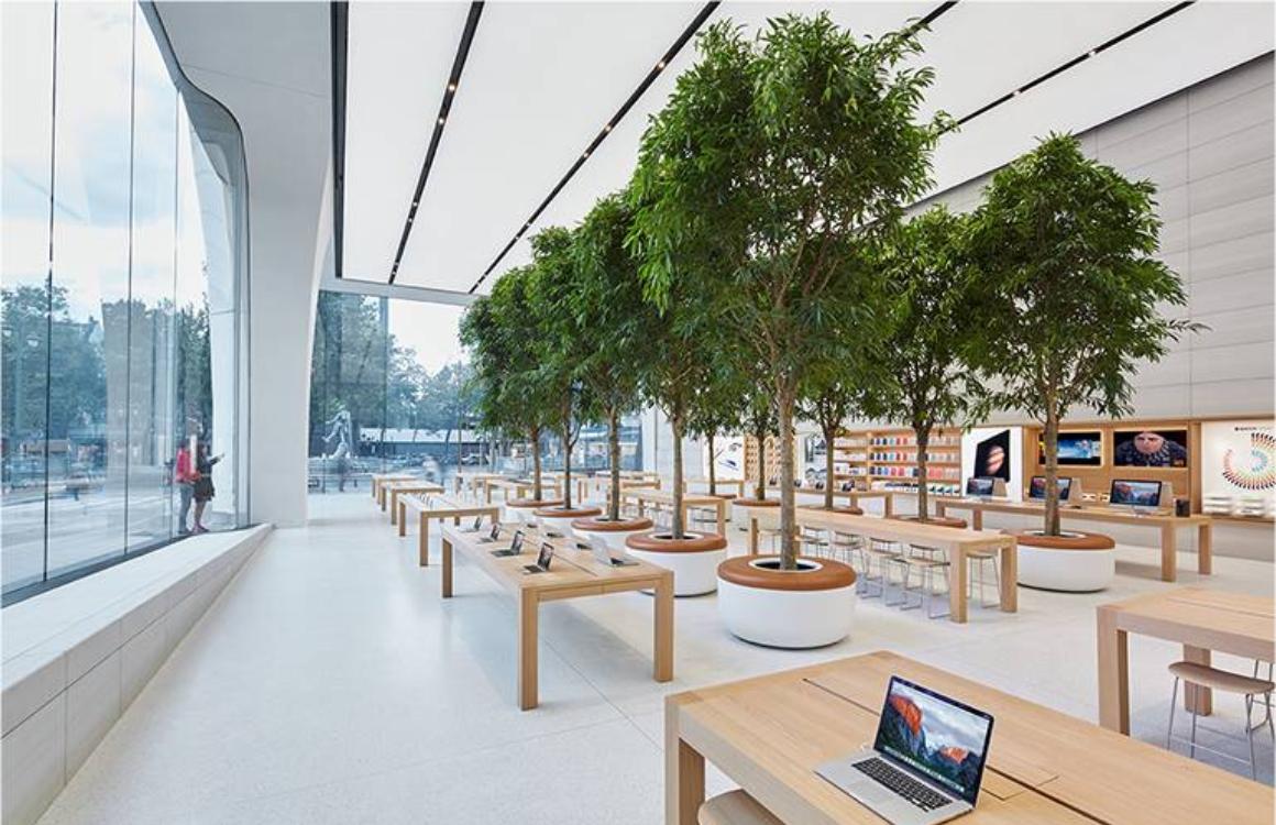 Apple Store Amsterdam gaat verbouwen: 'wordt kleiner, krijgt bomen en zitplekken'
