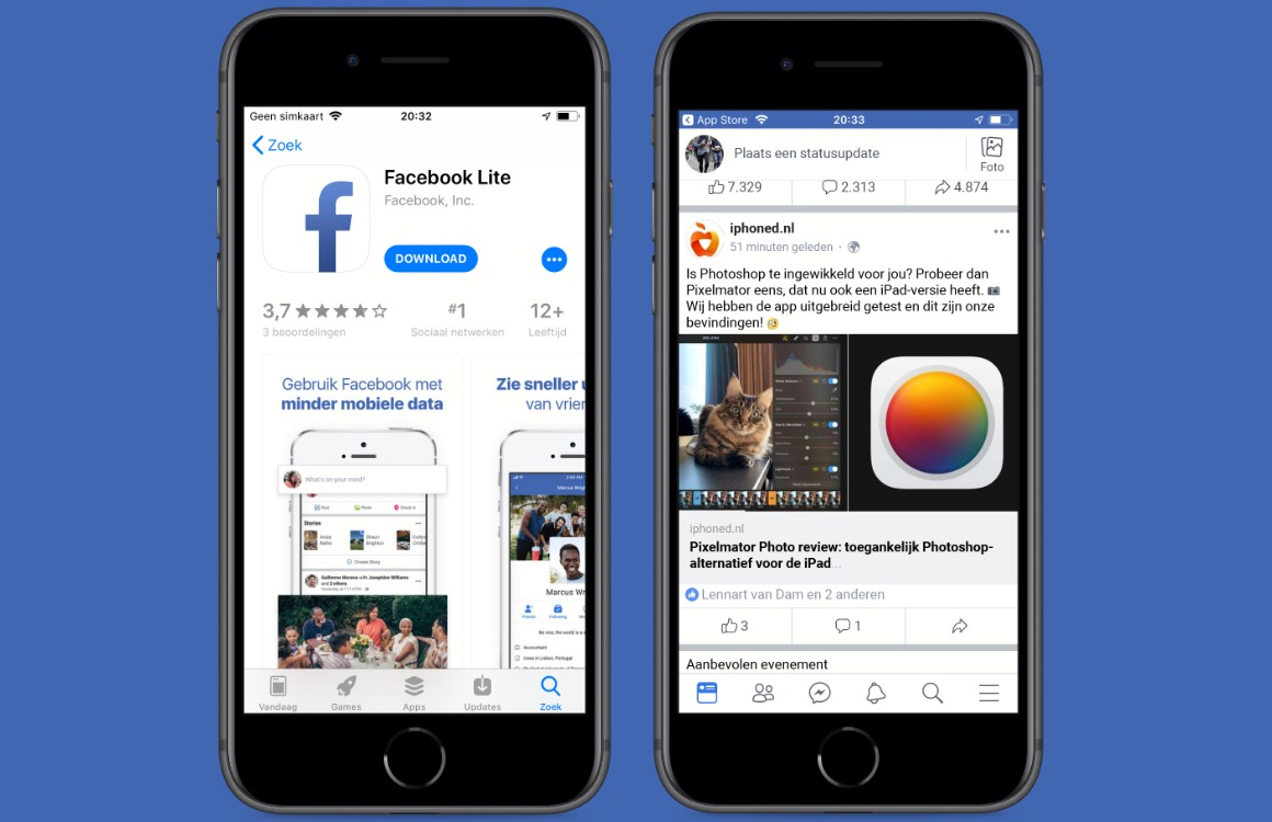 Facebook Lite iPhone screens