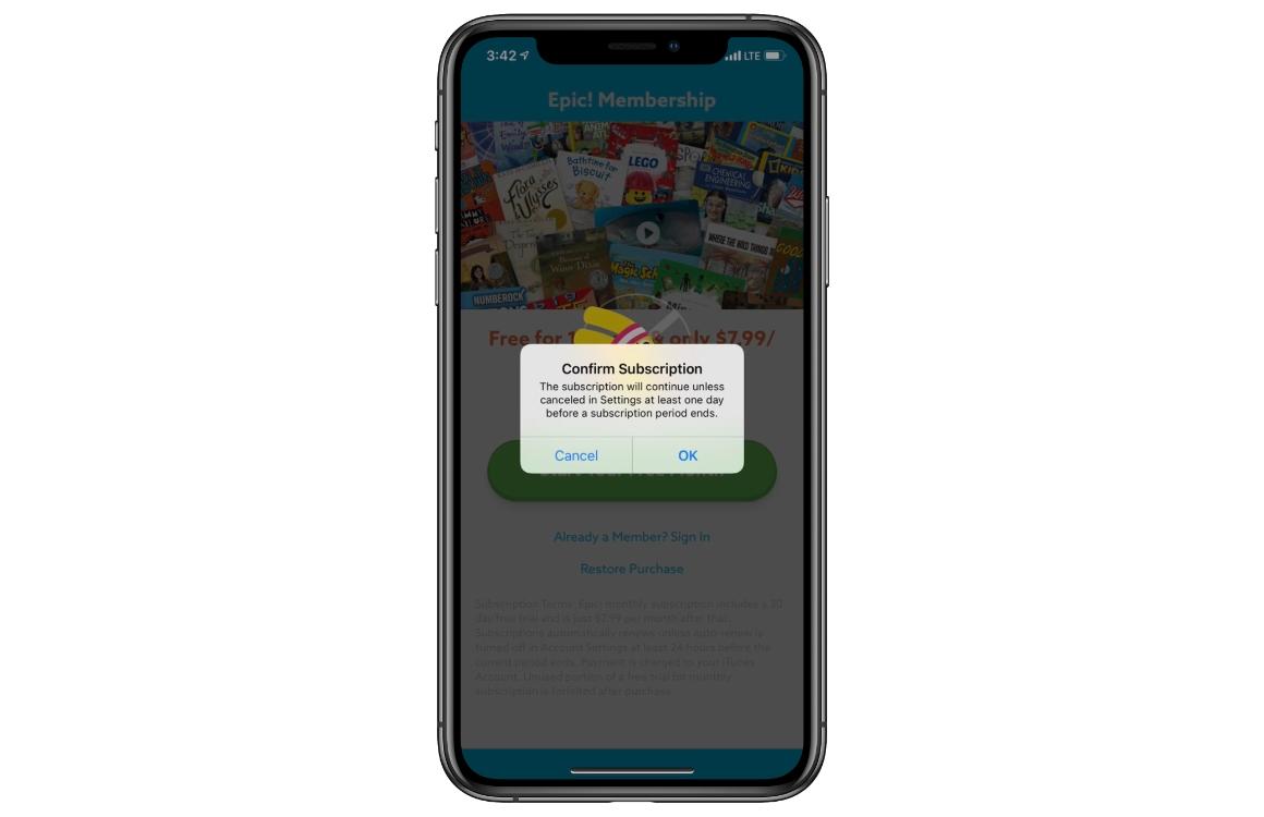 App abonnementen melding