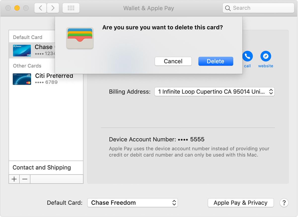 apple pay betaalkaart wijzigen en verwijderen Mac
