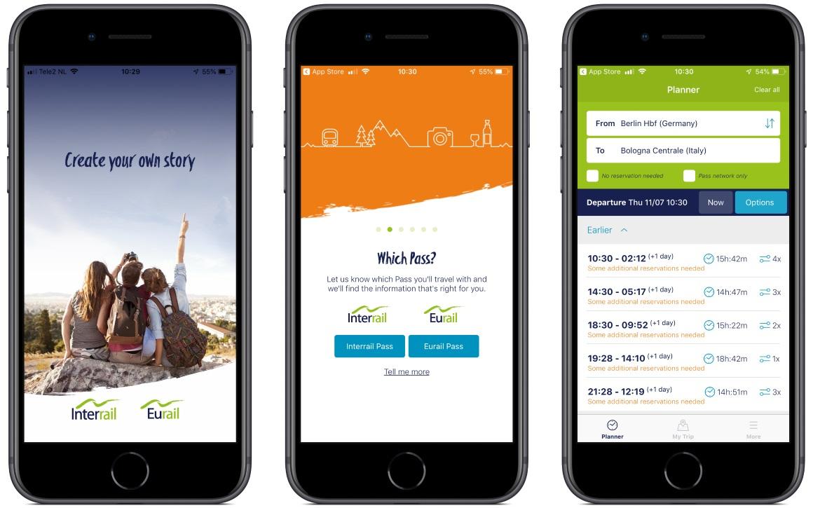 Interrail iphone app screenshots