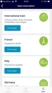 Interrail iphone app extra info