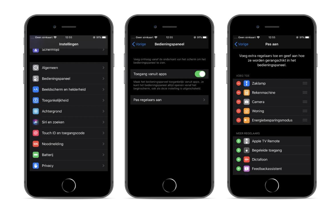 Bedieningspaneel aanpassen iOS screens