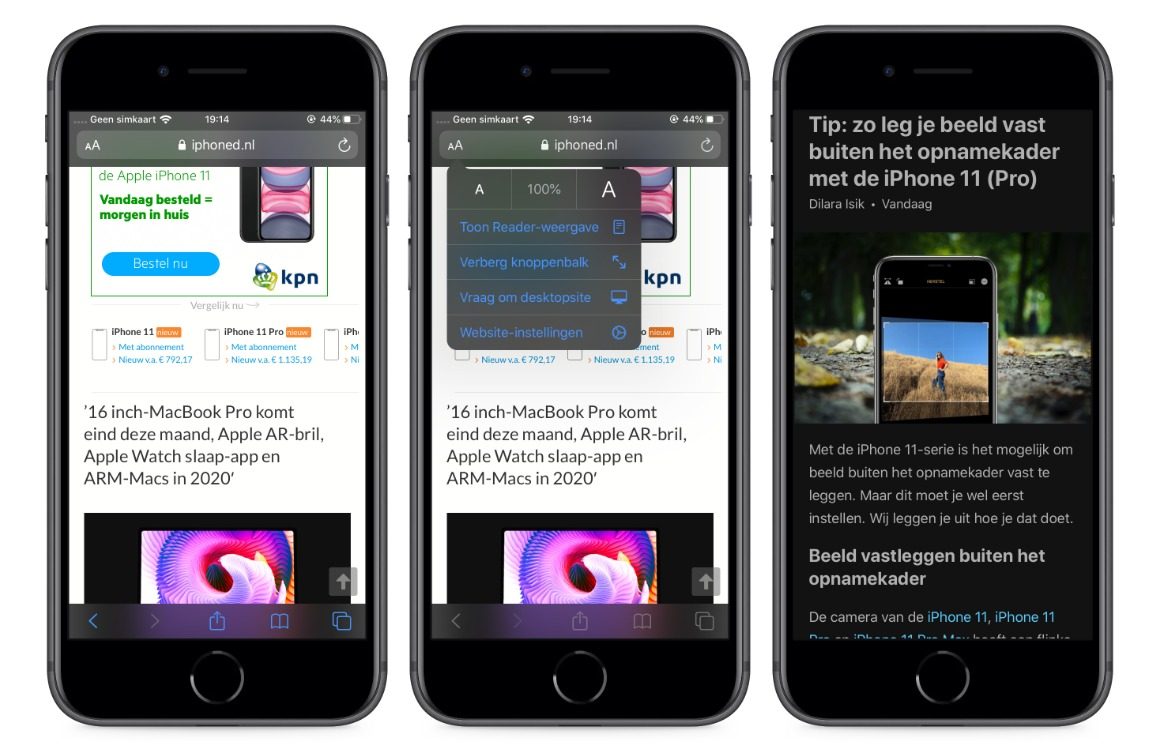 Reader-weergave iOS 13 screens