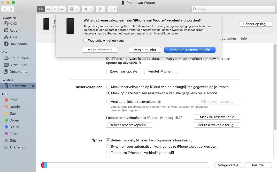 macOS Catalina iPhone synchroniseren