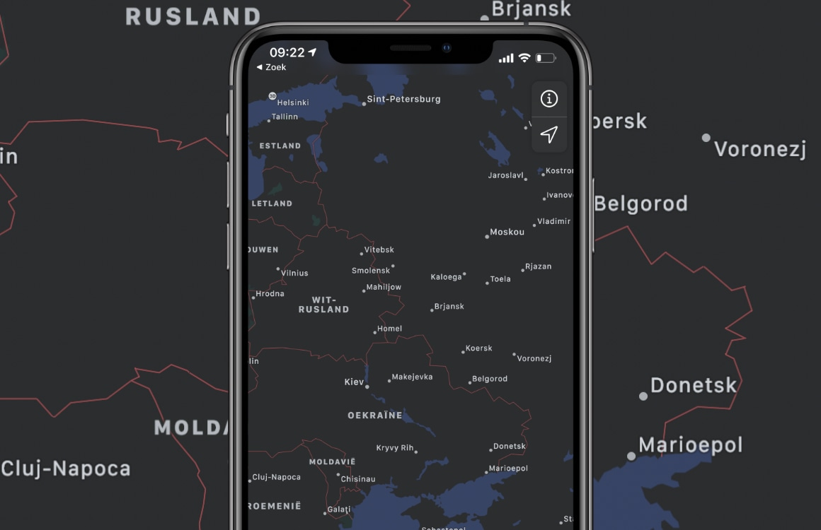 Update: Apple zwicht voor Russische overheid, past Apple Maps aan