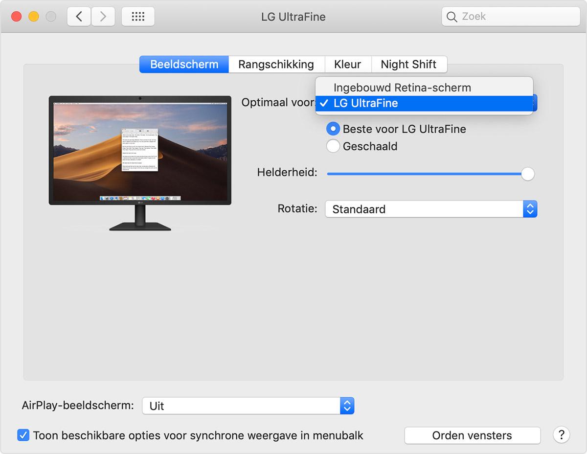 schermresolutie mac aanpassen extern beeldscherm