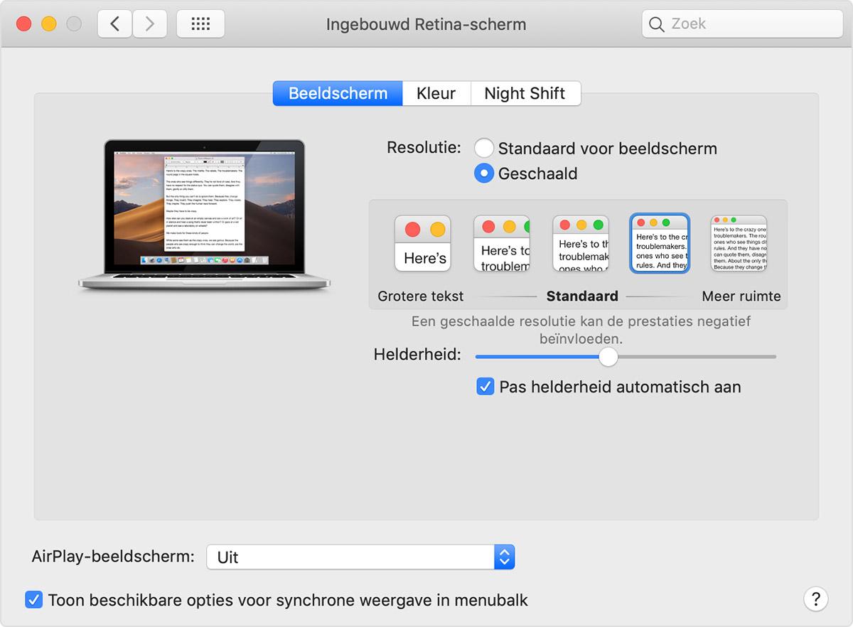 schermresolutie mac aanpassen