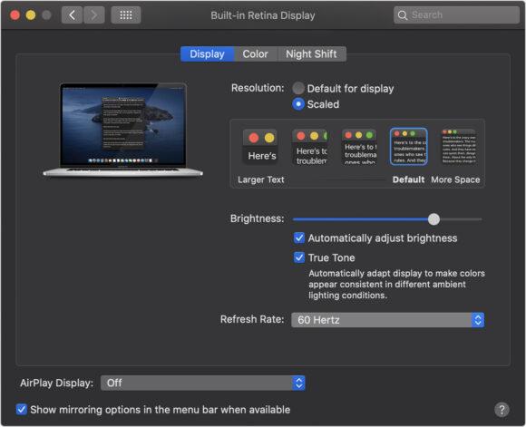 ververssnelheid 16 inch macbook pro instellen