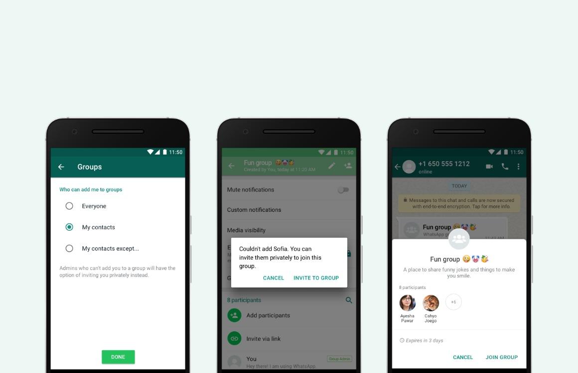 whatsapp groepsuitnodigingen beheren