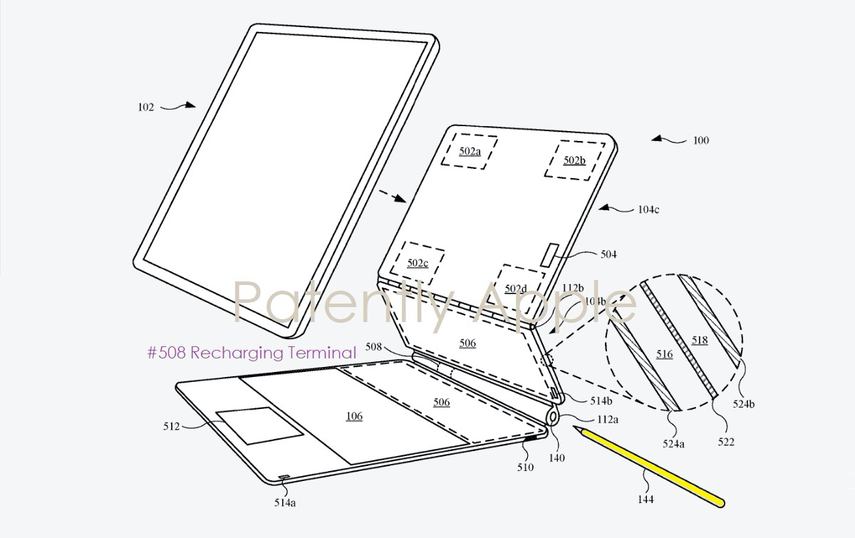 Zo berg je straks een Apple Pencil op in het iPad-toetsenbord