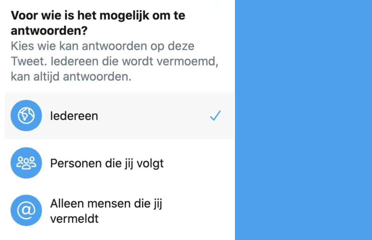 Twitter laat gebruikers kiezen wie er mag reageren