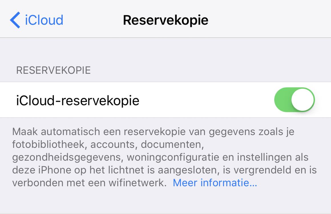 iCloud reservekopie