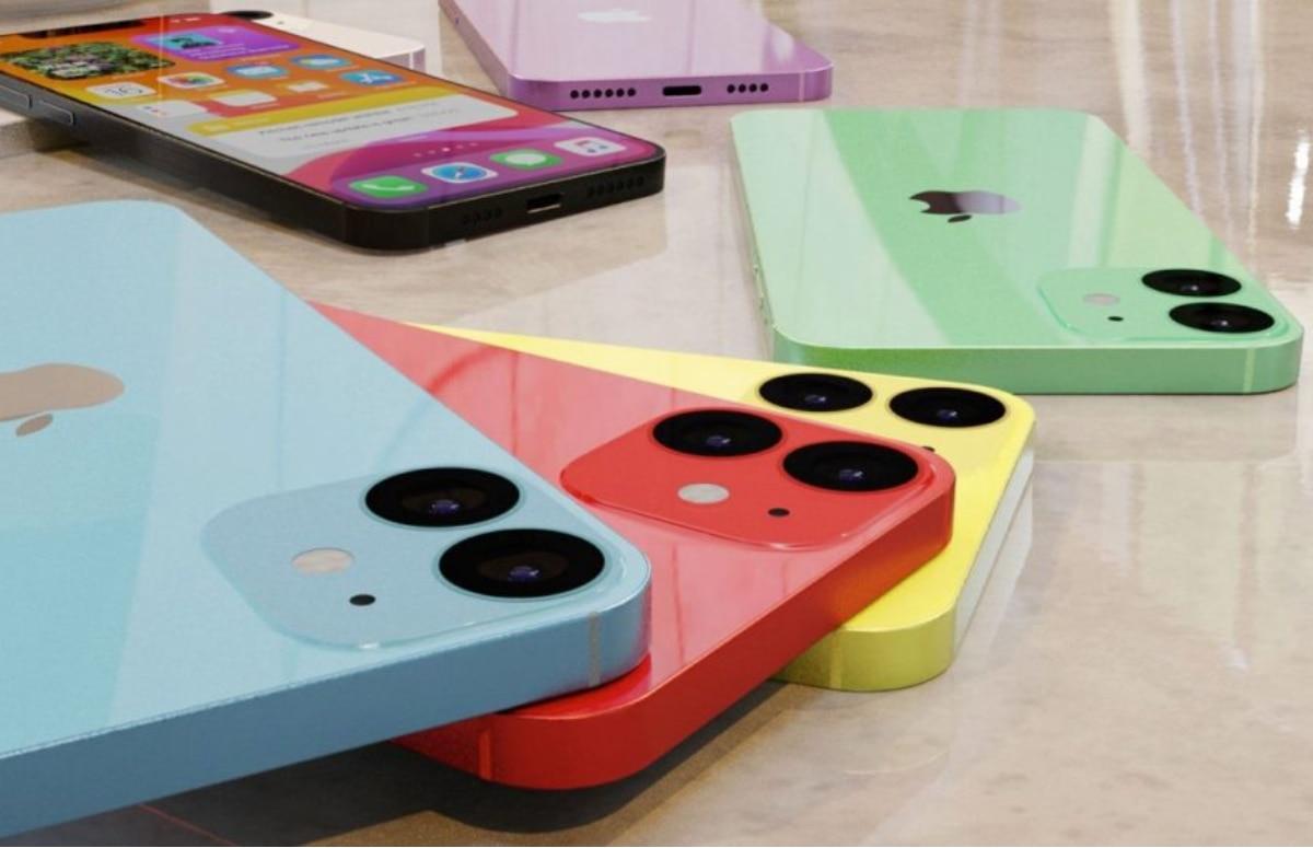 Kleurrijk concept toont iPhone 12 mini van alle kanten