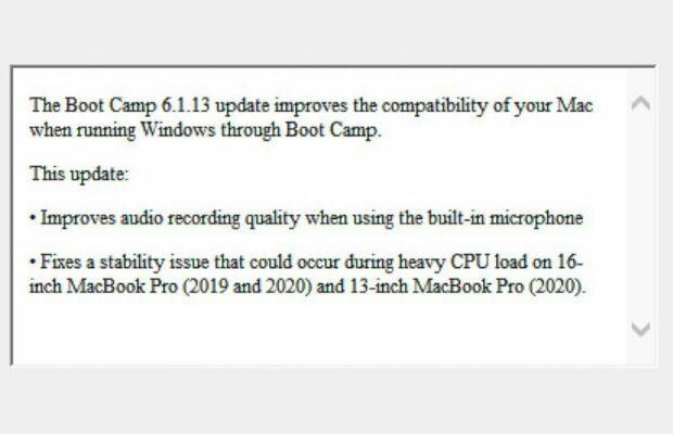 Boot Camp release opmerkingen